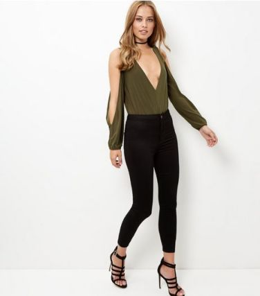 khaki-plunge-v-neck-cold-shoulder-bodysuit-