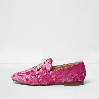 bright-pink-velvet-loafer-river-island