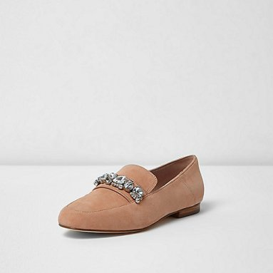 nude-suede-jewel-loafer-river-island