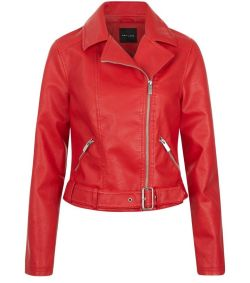 biker red leather jacket