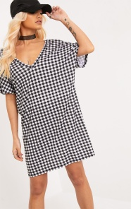 Black Gingham tshirt dress