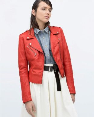 red leather jacket and denim