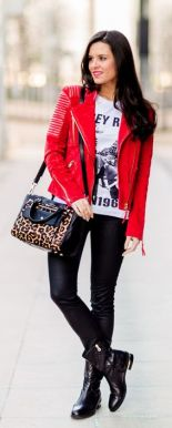 red leather jacket leopard print