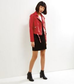 red leather jacket new look 2