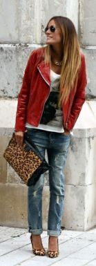 red leather jacket with boyfriend jeans