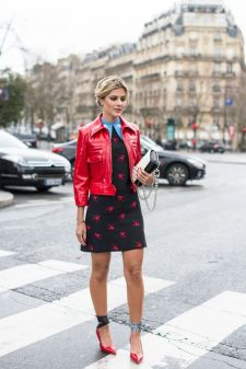 red leather jacket with dress