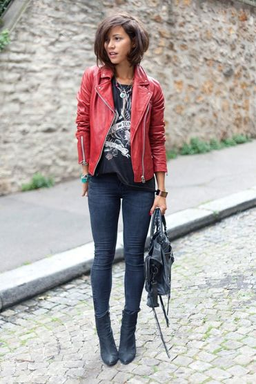 red leather jacket with rock tshirt