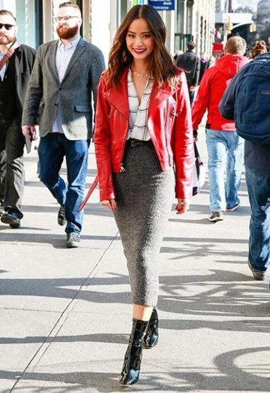red leather jacket with skirt