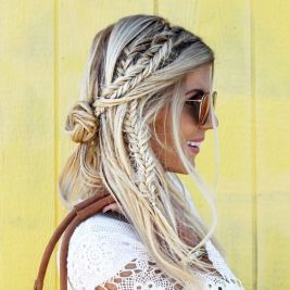 festival look braids bun