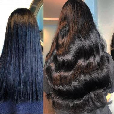 before and after. beauty works 22 inch length